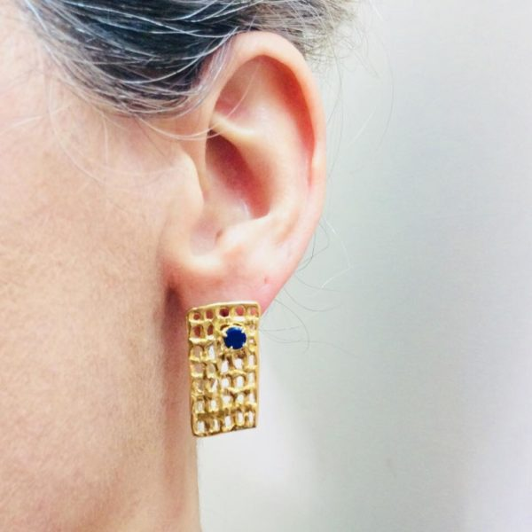 Net earrings lapis lazuli